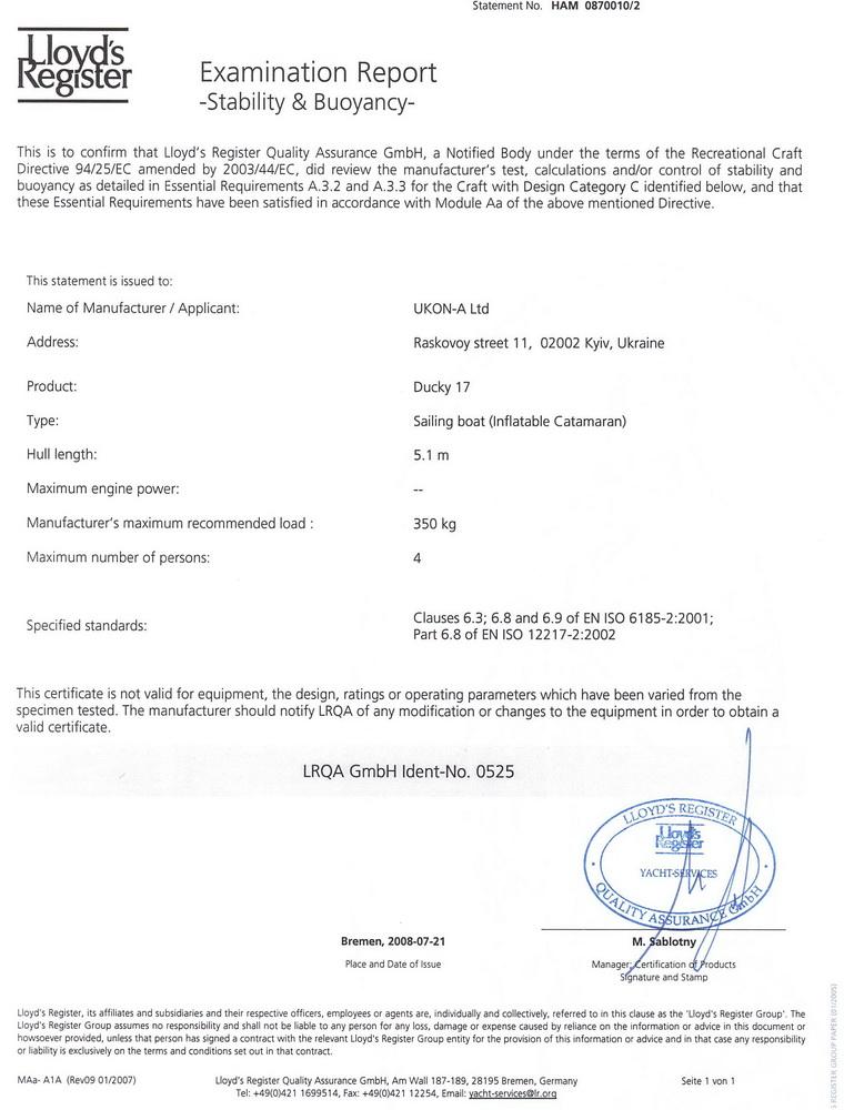 Ducky 17 certificate